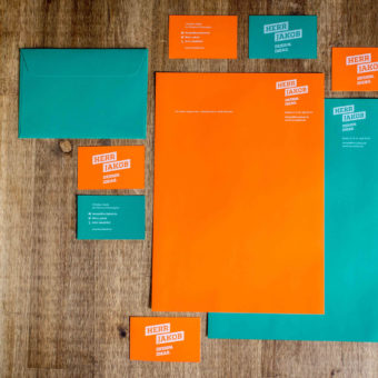 business cards, stationery and envelopes colorful design in orange and turquoise printed with ghost white toner