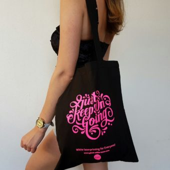 cotton bag with lettering printed with neon toner