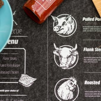 Grillparty table mat with white print by toner transfer