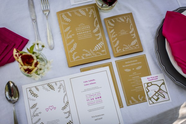 table decoration and wedding invitation cards printed with white toner