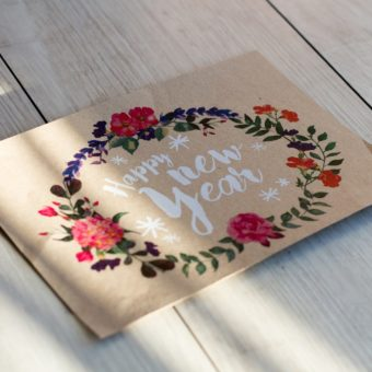 greeting cards design and lettering with white toner print