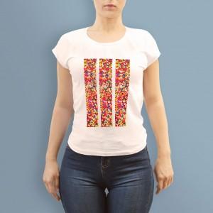 weiß t-shirt shirt aufdruck motiv muster streifen zebra bunt farbig