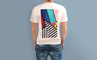 t-shirt design with abstract colorful pattern printed with ghost sublime toner
