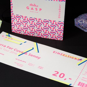 Eintrittskarte mit Neontoner