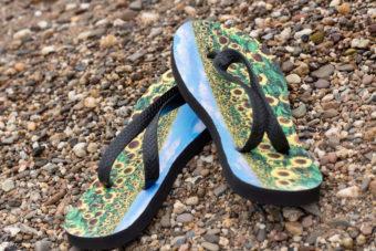Summer flip flops printed with sublime toner