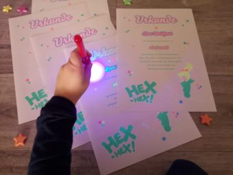 colorful papersheet with glow-in-the-dark effect printed with ghost neon toner
