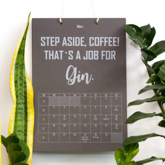 Gin Calendar with White Toner print
