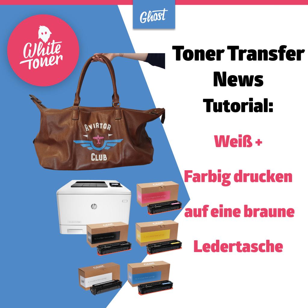 Toner Transfer News – Drucken auf eine braune Ledertasche