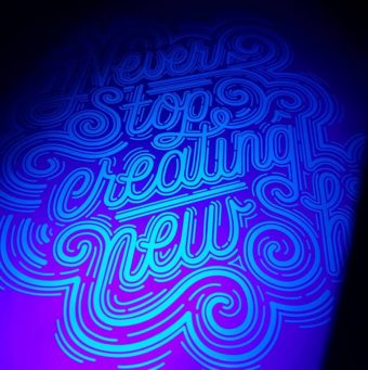 card design lettering with ghost neon toner
